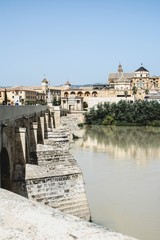 Panoramic view of Mosque-Cathedral and Roman Bridge of Córdoba, Andalusia, Spain