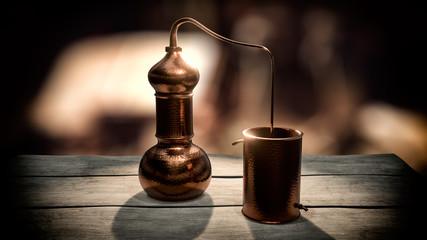 Copper alembic distiller 3d illustration