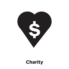 Charity icon vector isolated on white background, logo concept of Charity sign on transparent background, black filled symbol