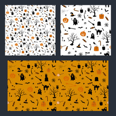 Set of halloween seamless pattern design with ghost, pumpkin and black cat