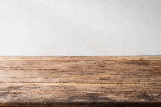 Blank wood table desk old vintage grunge design shelf perspective.
