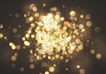 Christmas golden lights. Background of bright glow bokeh.