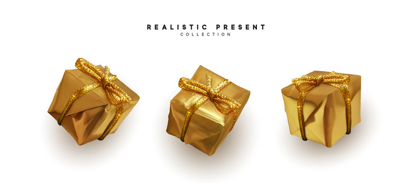 Set presents. Golden gift boxes realistic design. Isolated on white background