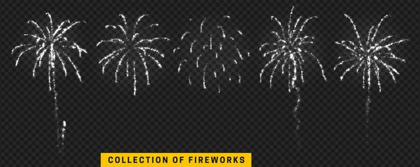 Set festive fireworks isolated on transparent background.