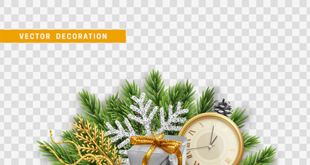 Christmas design. Composition with Xmas decorations. Christmas tree branches with pine cones, colorful realistic gift boxes and retro clock. Vector isolated on transparent background.