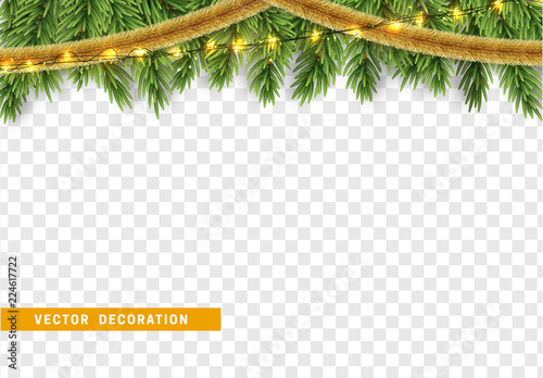 Christmas Tinsel Transparent.Christmas Border With Fir Branches String Lights Garland
