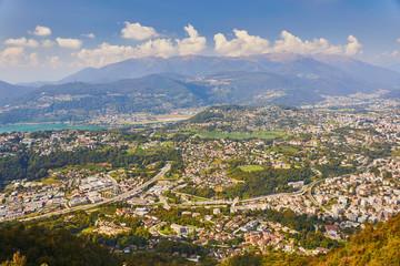 View to Lugano from San Salvatore mountain in Lugano, Switzerland