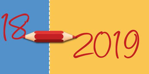 Carte de vœux 2019 symbolisant le passage à la nouvelle année à l'aide d'un crayon