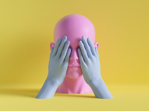 3d render, female mannequin head, eyes closed by hands, blind concept, isolated object, minimal fashion background, shop display, pink blue yellow pastel colors