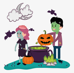 Halloween kids celebration cartoons