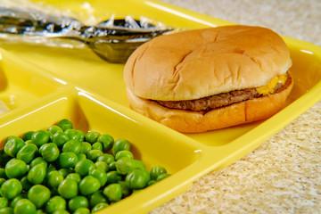 Foto op Canvas Assortiment School Lunch Tray Cheeseburger