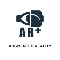 Augmented reality icon. Black filled vector illustration. Augmented reality symbol on white background.