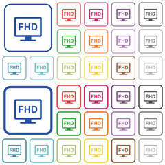 Full HD display outlined flat color icons