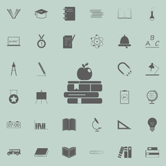 books and apple icon. Education icons universal set for web and mobile