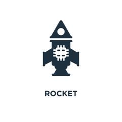 Rocket icon. Black filled vector illustration. Rocket symbol on white background.
