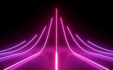3d render, abstract minimal background, glowing lines, arrow, chart, pink neon lights, virtual reality, laser show
