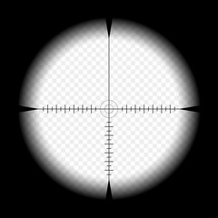 Sniper scope template, with measurement marks on isolated background. View through the sight of a hunting rifle. The concept of aiming, the search for the main goal.
