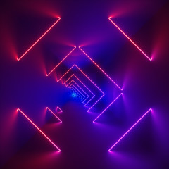 3d render, glowing lines, neon lights, abstract psychedelic background, corridor, stairs, tunnel, ultraviolet, spectrum vibrant colors, laser show