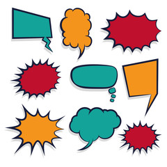 Comic book colored empty speech bubble for text