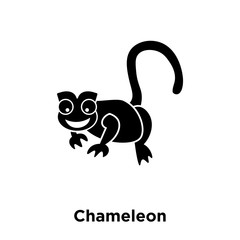 Chameleon icon vector isolated on white background, logo concept of Chameleon sign on transparent background, black filled symbol