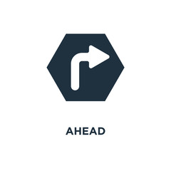 Ahead icon. Black filled vector illustration. Ahead symbol on white background.