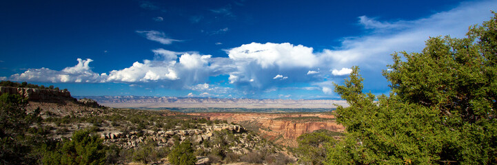 Wide panorama of the stone landmarks, plants, distant mountains, and vast sky of Colorado National Monument