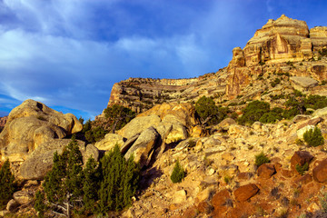 Majestic rock wall at Colorado National Monument near the towns of Grand Junction and Fruita