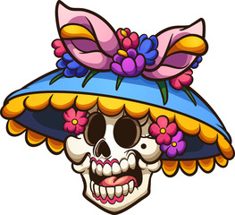 Day of the dead Mexican catrina head. Vector clip art illustration with simple gradients. All in a single layer.