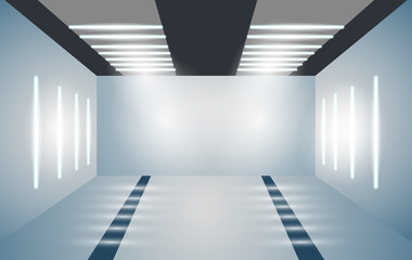 Exhibition empty 3D room with bright lighting. Presentation of cars, motorcycles, retro, valuables. Vector illustration for your business projects.