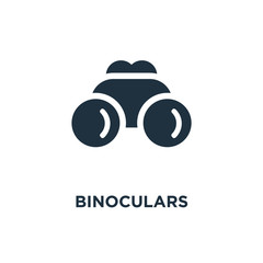 Binoculars icon. Black filled vector illustration. Binoculars symbol on white background.