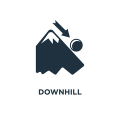 Downhill icon. Black filled vector illustration. Downhill symbol on white background.
