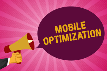 Writing note showing Mobile Optimization. Business photo showcasing Site Content Reformatted for Handheld or Tablet Devices.