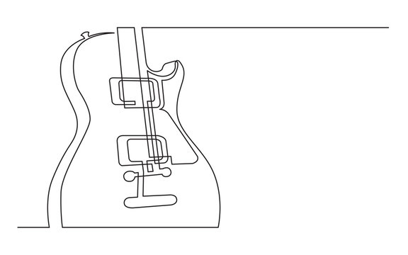 continuous line drawing of electric guitar with two humbuckers