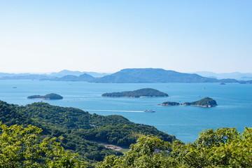 Landscape of islands on the Seto Inland Sea,Takamatsu city,Shikoku,Japan