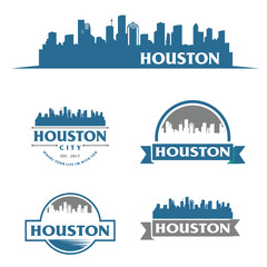 Fotomurales - Houston USA skyline Logo cityscape and landmarks silhouette vector illustration