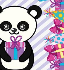 Happy birthday panda cartoon
