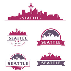 Fotomurales - Seattle Logo, Skyline, City Cityscape Logo Vector