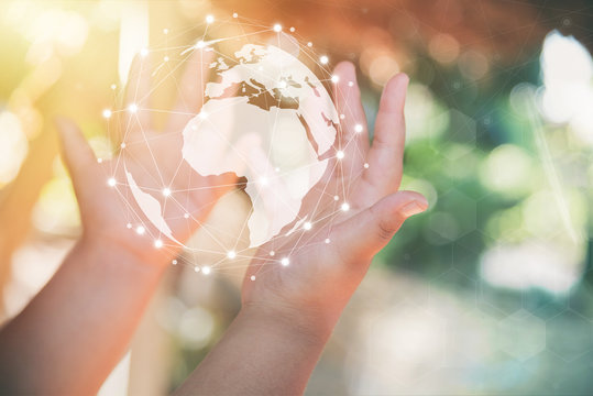 hand holding flying earth network global connection concept