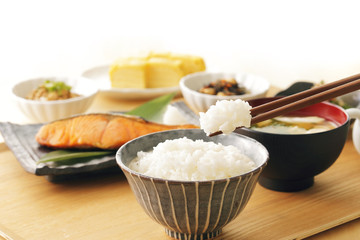 日本のごはん 和食 Japanese foods(Typical Japanese breakfast)