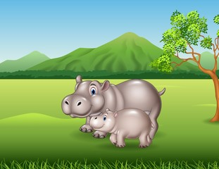 Cartoon mother and baby hippo in the jungle