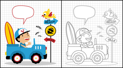 Holiday time with little boy on car, coloring book or page, vector cartoon illustration