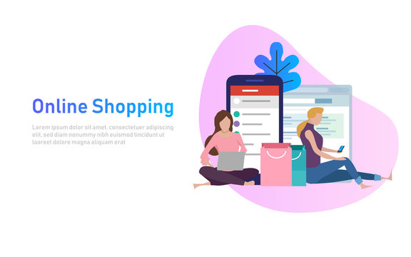 Sale, consumerism and people concept. Young woman shop online using smartphone and laptop. Vector illustration.