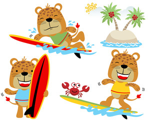 Vector set of funny tigers cartoon with little crab playing surfboard