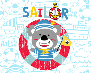 vector of funny koala cartoon with sailor uniform on seamless pattern of sailing equipment