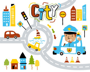 Vector of city life cartoon with funny traffic cop