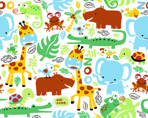 Seamless pattern vector with funny safari animals