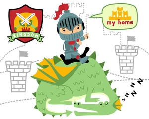 Vector of little knight cartoon ride on sleeping dragon