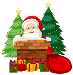 Santa in chimney card