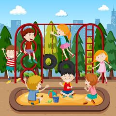 Kids playing on playground