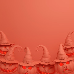 Smiling orange pastel pumpkin head jack o lantern with witches hat, copy space text. Design creative concept for happy Halloween festival, 3D rendering illustration.